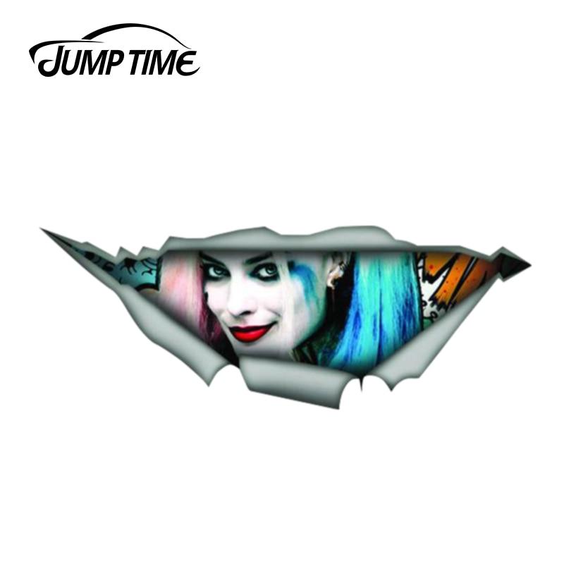 Jump Time 13cm X 4.8cm Harley Quinn Car Decal 3D Pet Graphic Vinyl Decal Car Window Laptop Bumper Animal Car Stickers