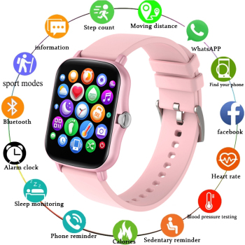 LIGE 2021 New Full touch Female Digital watch waterproof Sports suitable for Android IOS multifunction Electronic watch male+Box 1