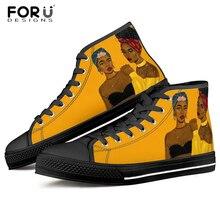 FORUDESIGNS Afro Girls Black Art Women Shoes Fashion High Top Canvas
