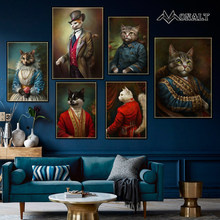 Pintura em tela abstrata animais posters hd idade média gato cão cavalheiro imagem sala de estar arte da parede quadros decorativos Pintura clássica personalizada de cabeceira de tamanho grande