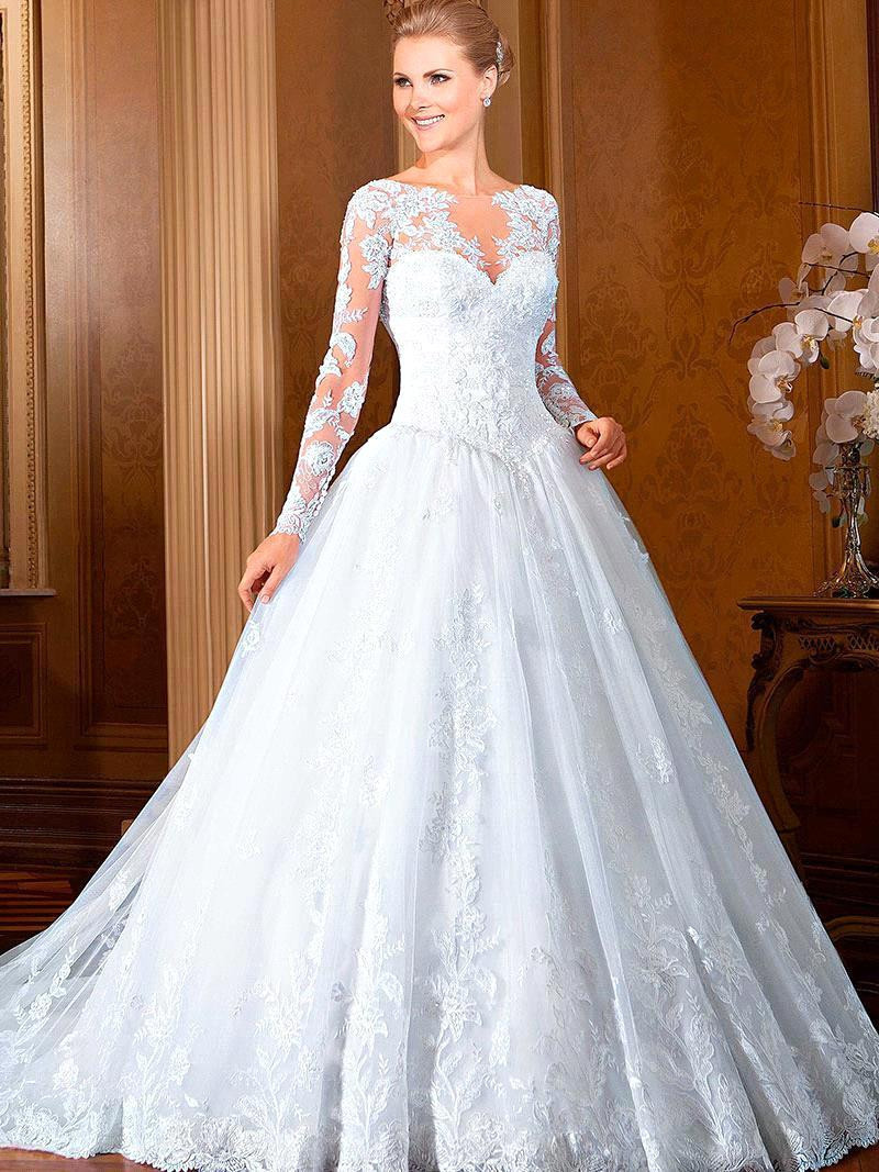2016 New Arrival Charming Lace Applique Ball Gown Long Sleeves Bridal Gown Formal Wedding Dresses (WDS-1365)