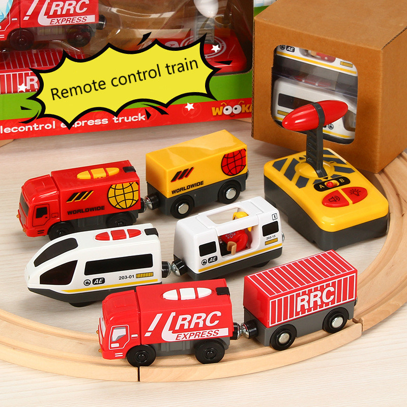 Remote Control RC Electric Small <font><b>Train</b></font> Toys Set Connected with Wooden Railway Track Interesting Present for Children image