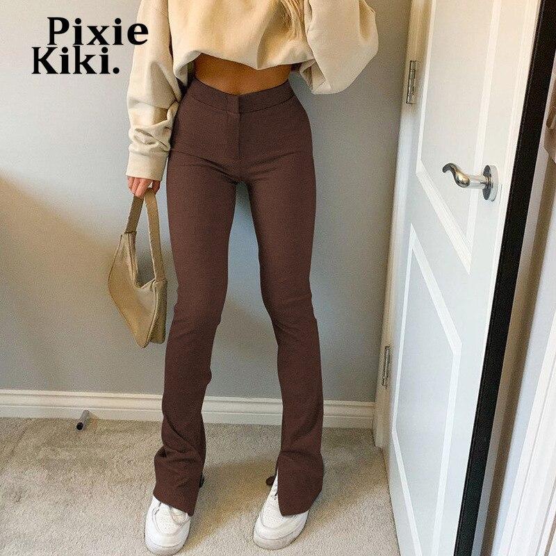 Pixiekiki sólido tricô divisão cintura alta alargamento calças y2k sweatpants feminino e menina estilo calças casuais preto bottoms P84-CG31