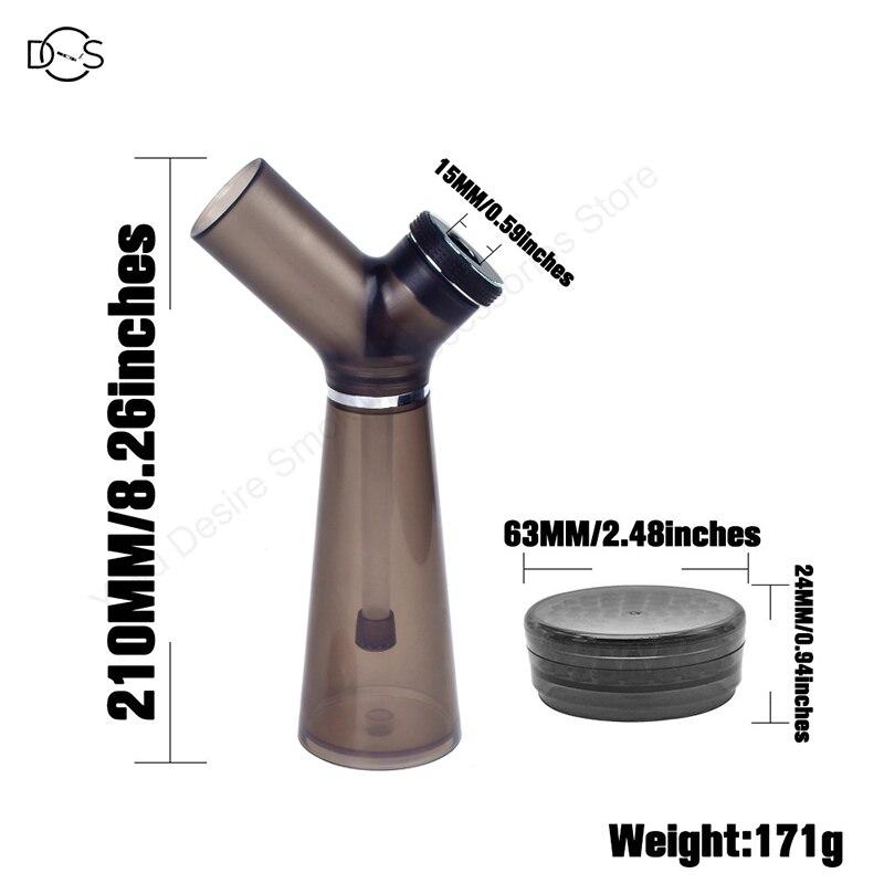 Acrylic Waterpipe With Grinder Hookah Shisha Water Bong Herb Tobacco Grinders for Smoking Weed 6