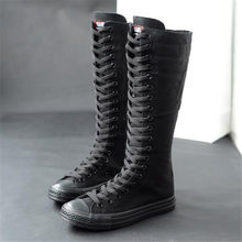 High-top long tube women's boots casual canvas side zipper strap sneakers women's shoes winter boots women thigh high boots