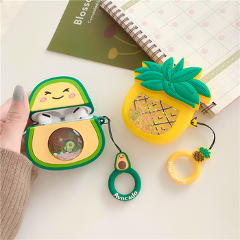 Cartoon Case for AirPods pro Glitter Cute Cover Silicone Bluetooth Earphone Protective Case for Apple Airpods Pro Fruit Avocado 3d lucky rat cartoon bluetooth earphone case for airpods pro cute accessories protective cover for apple air pods 3 silicone