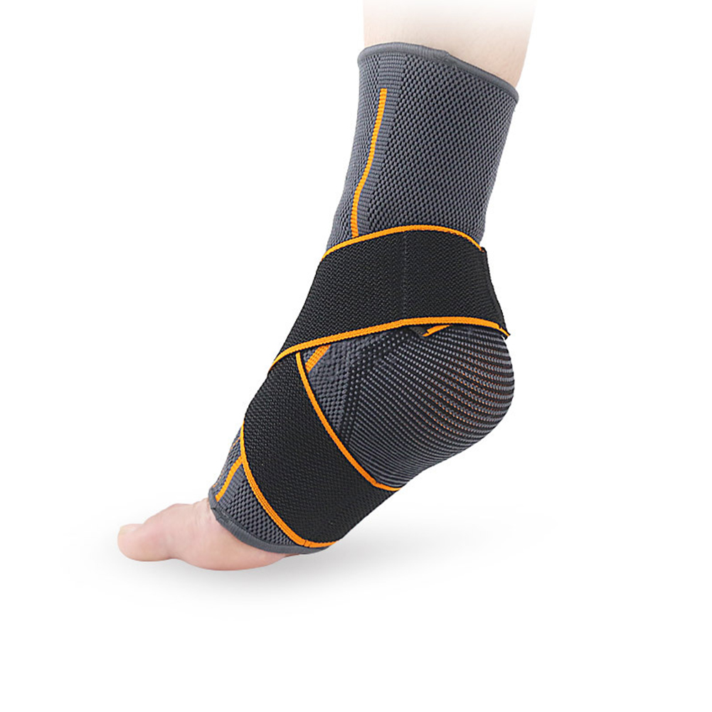 1pc Striped Magic Sticker Brace Ankle Support Gym Elastic Protector Warm Nylon Sports Strap Running Basketball Sprain Prevention