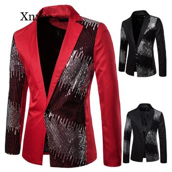 Performance Shiny Gold Sequin Glitter Embellished Blazer Jacket Men Nightclub Prom Suit Costume Homme Stage Clothes