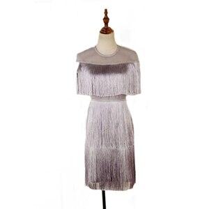 Image 5 - נשים בציר שמלת קיץ ציצית שכבות Vestido מסיבת Clubwear פרינג שמלות חוף רשת הדוק אופנה גבירותיי מוצק Midi שמלה
