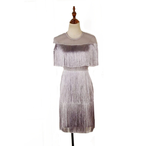 Image 5 - Women Vintage Dress Summer Tassel Layered Vestido Party Clubwear Fringe Dresses Beach Mesh Tight Fashion Ladies Solid Midi Dress