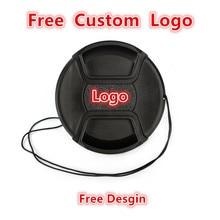 10pcs Custom Logo 40.5 49 52 55 58 62 67 72 77 82mm center pinch Snap on cap cover for all camera Lens