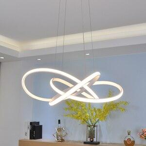 Image 4 - Black/White modern led chandelier lighting for living room bedroom restaurant kitchen pendant chandeliers home indoor lighting