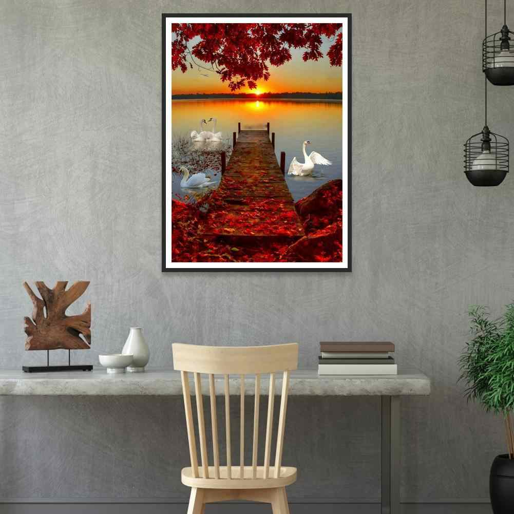 Manual DIY 5D Diamond Painting by Number Kits Crystal Rhinestone Embroidery Paint with Diamonds Indoor Wall Decoration Gifts Arts and Crafts The Seaside Scenery