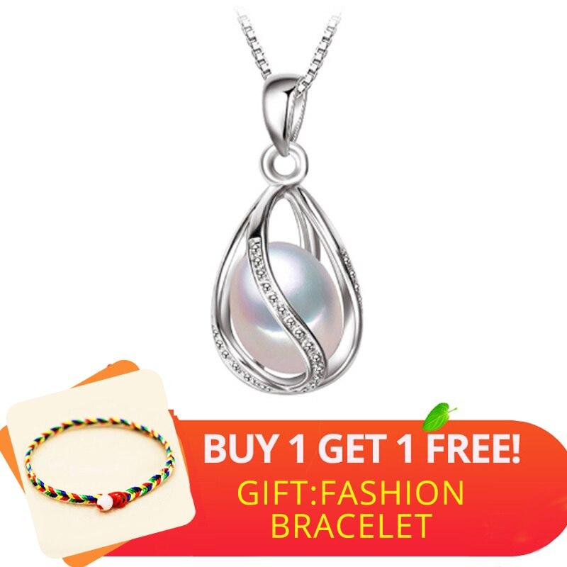 Bijoux en perles FENASY, pendentif en perles naturelles, collier en forme de cage, pendentif en argent avec perle d'eau douce, boîte-cadeau