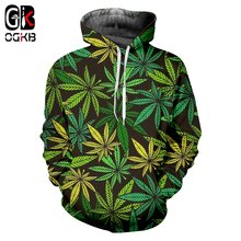Ogkb зеленый лист 3d печатная Мужская Толстовка harajuku weeds