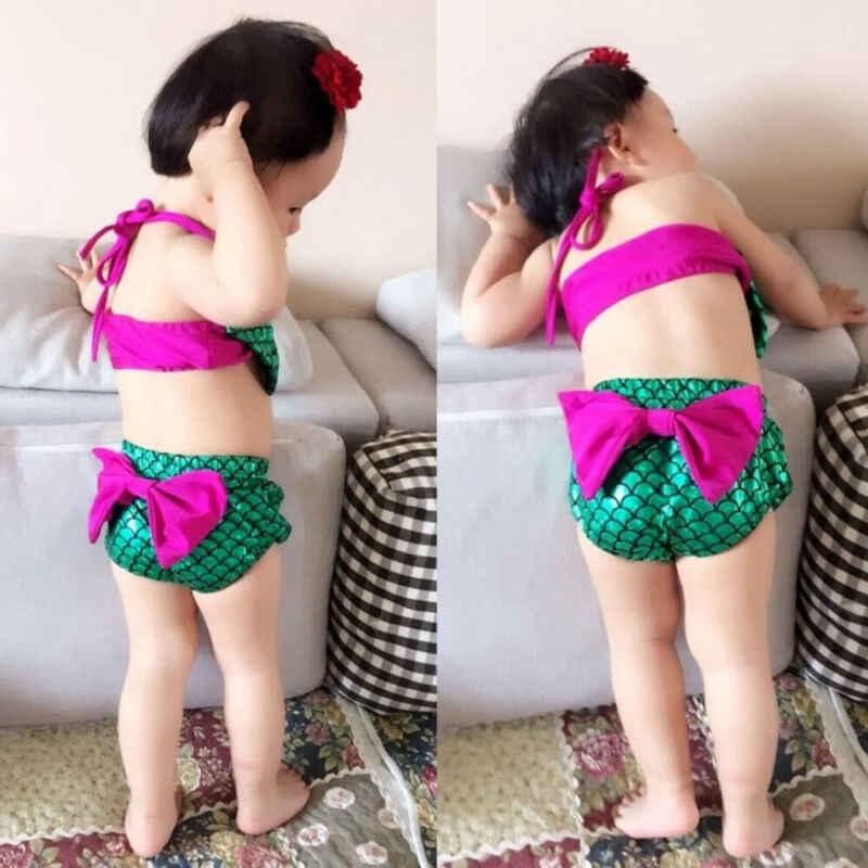 2 pcs 유아 아기 소녀 인어 bowknot 비키니 수영복 수영복 수영복 수영복 의상 세트