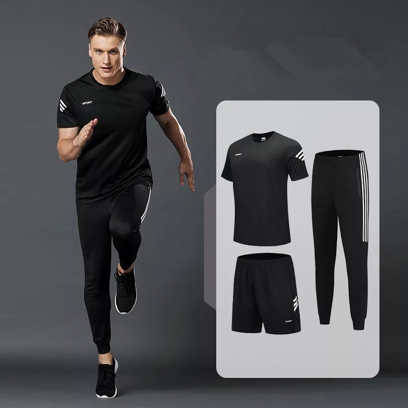 3pcs/Set Men's Sportswear Sets Tracksuit Men Sports Shorts And Men T-Shirts And Men Sweatpants Mens Gym Running  Fitness Suits