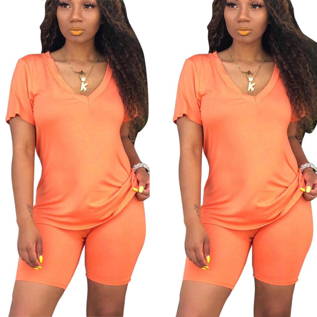 Neon Orange Casual Zwei Stück Set Sexy Club Outfits Frauen V Neck Kurzarm T Hemd Und Biker Shorts Schweiß anzüge Passenden Sets
