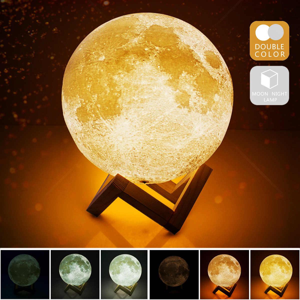 Lámpara de Luna impresa 3D recargable USB 2 colores Control táctil novedad iluminación ajustable lámpara de Luna decoración del hogar