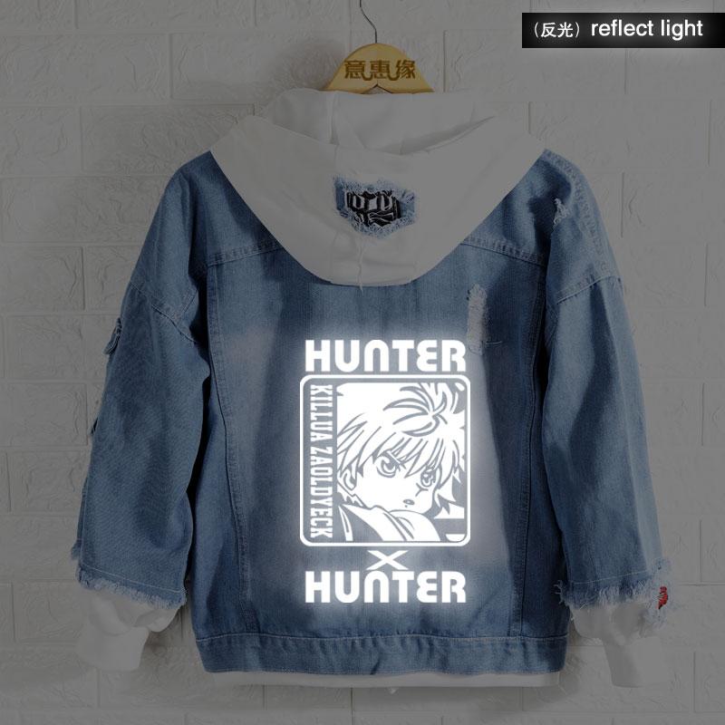 New Spring fall Hunter X Hunter hoodie Anime Hunter Isaac Netero Coat reflect light Men Women Fashion Denim Jacket