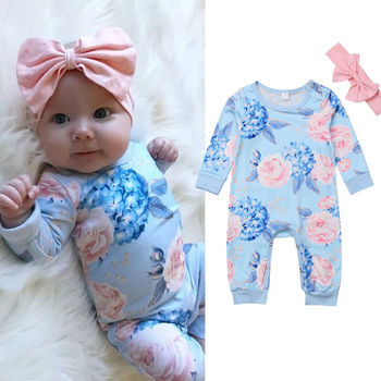 Pudcoco Newborn Baby Girl Clothes Floral Cotton Romper Jumpsuit Baby Playsuit Headband Girl Outfit Clothes Set цена 2017