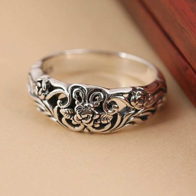 Retro Marcasite Black Rose Ring Silver 925 Jewelry for Women Vintage Ring Engagement Wedding Gifts Silver Jewelry Ring Wholesale