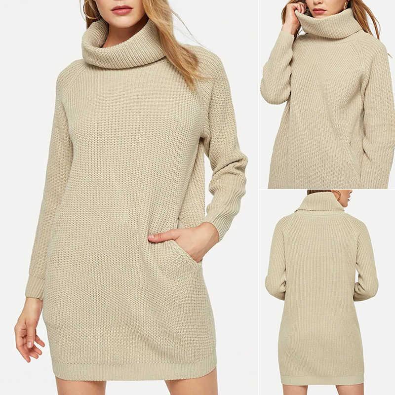 Suéter de Mujer Tops de punto de cuello alto suelto de manga larga Casual de luz cálida albaricoque Otoño Invierno moda nuevo suéter largo Tops