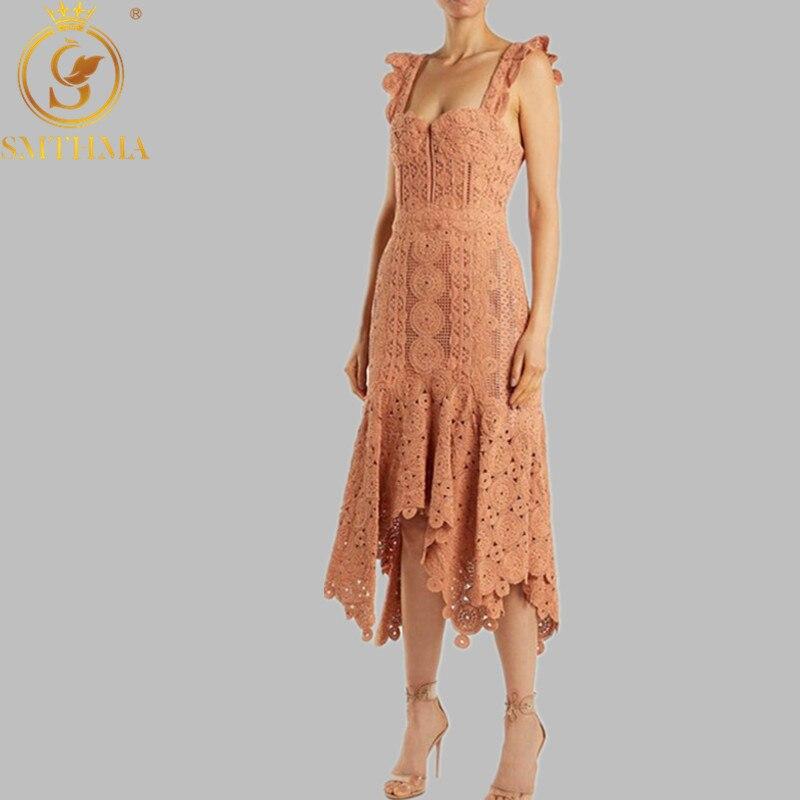 SMTHMA 2019 New Fashion Designer Runway Dress Summer Women Spaghetti Strap Pink Hollow Lace Trumpet Mermaid Dress