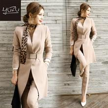 Women Suit Winter Long Blazer And Pants Office Fashion Belt Jacket Black Khaki 2 Piece Set Business Formal Sets Leopard Scarf