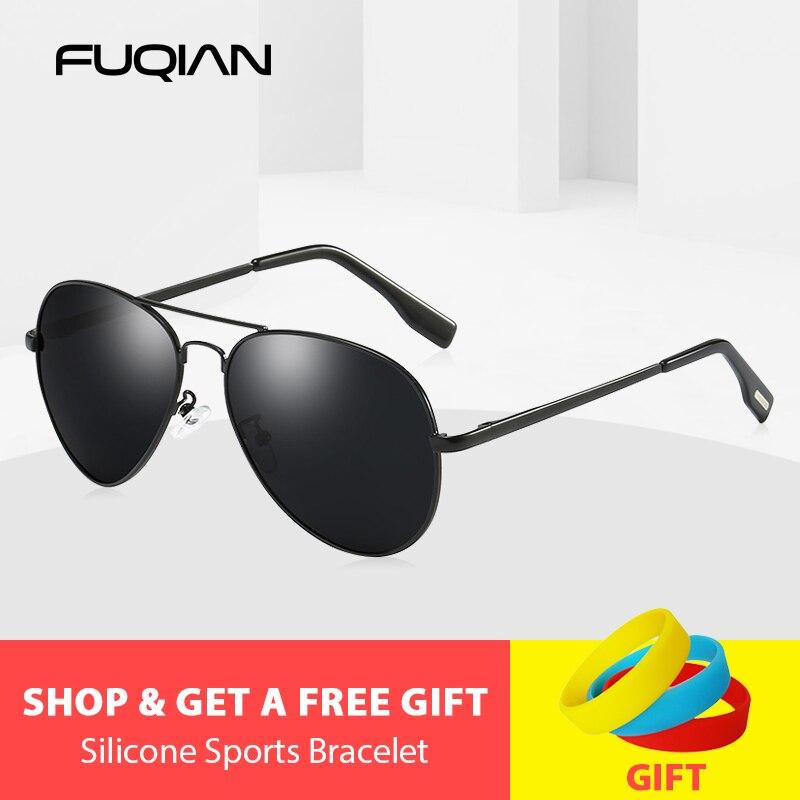 FUQIAN 2019 classique pilote lunettes de soleil polarisées hommes mode métal lunettes de soleil Cool noir conduite lunettes de soleil UV400