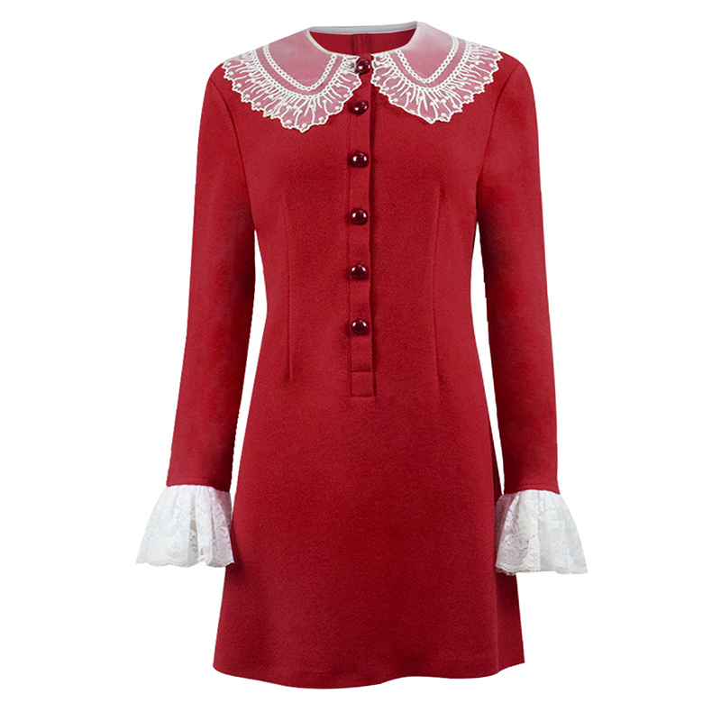 Cossky  Sabrina Spellman Cosplay Costume Chilling Adventures Knitted Red Dress Women Long Sleeves Winter Autumn Dress