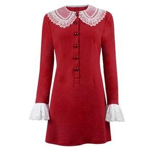 Disfraz de Cosplay de Sabrina Spellman de Cossky, vestido rojo de punto de aventuras escalofriantes, vestido de Otoño de invierno de manga larga para mujer