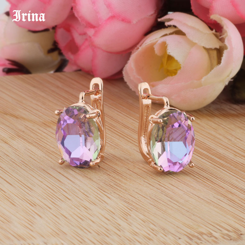 8 Color 585 Rose Gold Color Egg Shape Jewelry Colorful Earings High-quality Glass Stud Earrings for women Costume jewelery Gift 4
