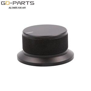 Image 2 - 50x25mm Bearbeitete Solide Voll Aluminium Volumen POTENTIOMETER KNOPF Sound Control Kappe 6mm Loch Audio DIY Schwarz silber Goldene 1PC