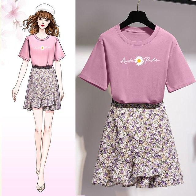 Girls Korean Sweet Daisy Print T-shirt Skirts Set Women Summer Cozy Cotton Short Sleeve Mini Dress Suit 2021 Fashion Clothing 4