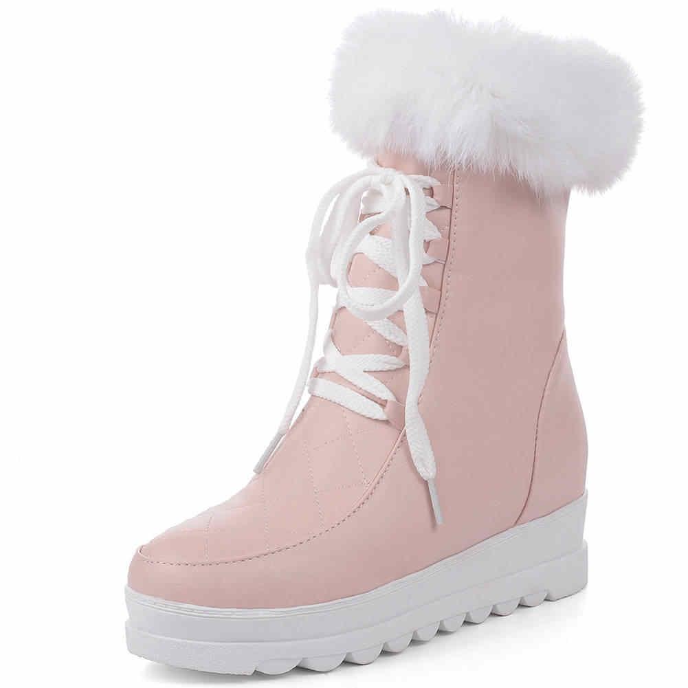 Karinluna สินค้าใหม่ขนาดใหญ่ 43 แพลตฟอร์มเพิ่มขนสัตว์ฤดูหนาวรองเท้าผู้หญิง Lace Up เพิ่มรองเท้าส้นสูงข้อเท้ารองเท้าผู้หญิง