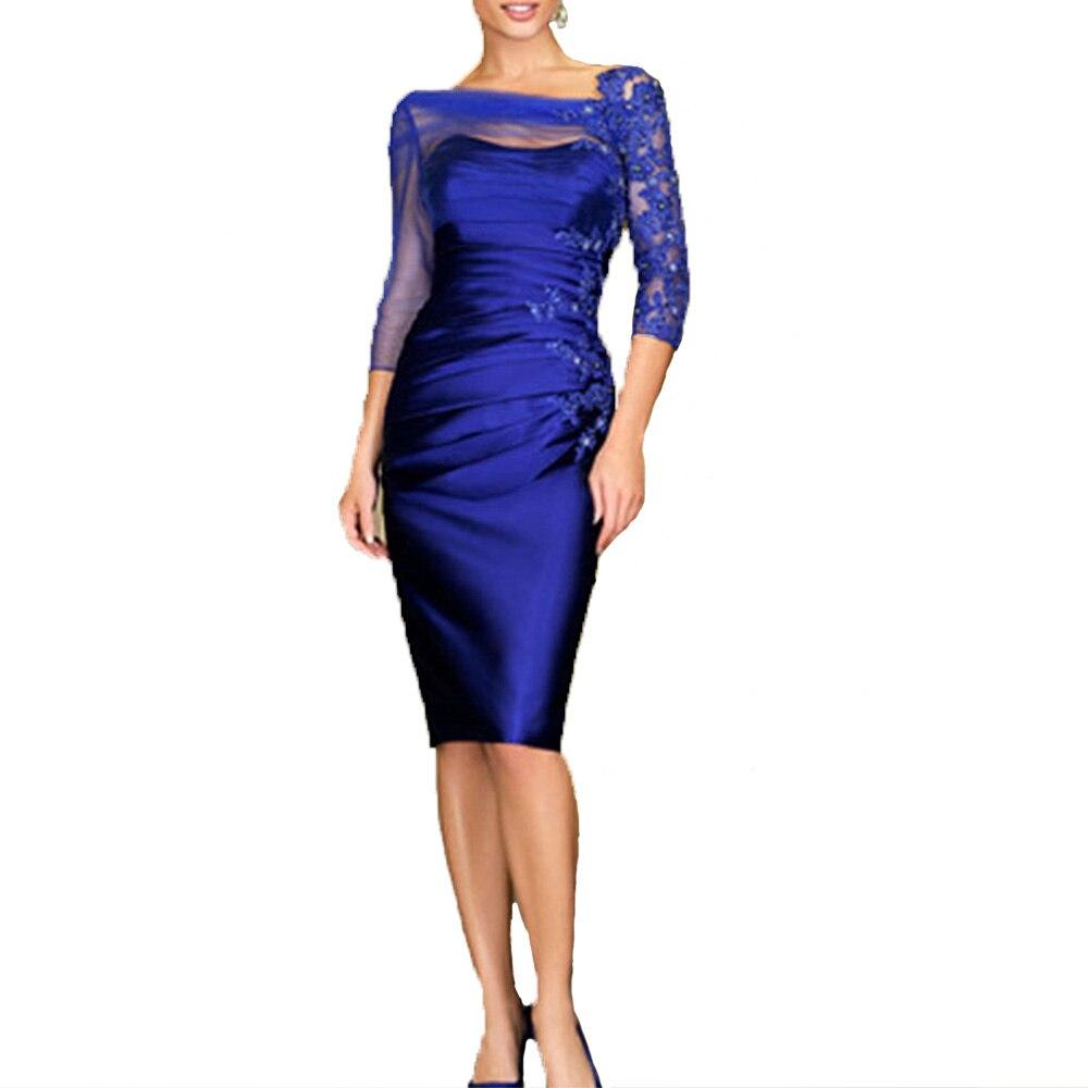 Vestidos Madre De La Novia Royal Blue Plus Size Mother Of The Bride Lace Dresses Knee Length Short Godmother Dress 2020 Taffeta