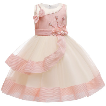 Fashion Girls Pleated Tulle Flower Girl Dress Princess Pageant Wedding Birthday Party Dresses Size 4-14 girls dress fox squirrel bird mushroom striped cotton 2018 summer princess wedding party dresses kids clothes size 7 14 pageant