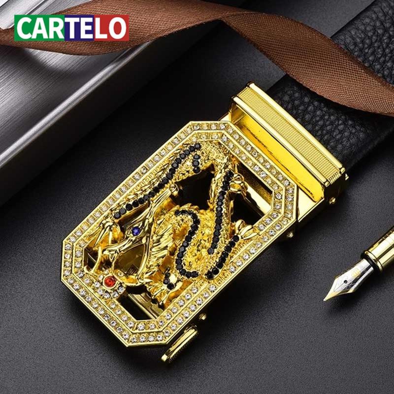 Cinturón automático del zodiaco para hombre, marca CARTELO, 3,8 cm de ancho, de cuero genuino, para negocios