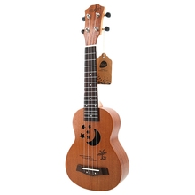 Soprano Ukulele 21 inch Sapele Star Pattern Ukulele 4 Nylon Strings Hawaii Mini Guitar Uke Fingerboard Rosewood Ukelele Music In soprano ukulele 21inch mahogany wood beginner 4 strings mini guitar rosewood fingerboard neck music instrument