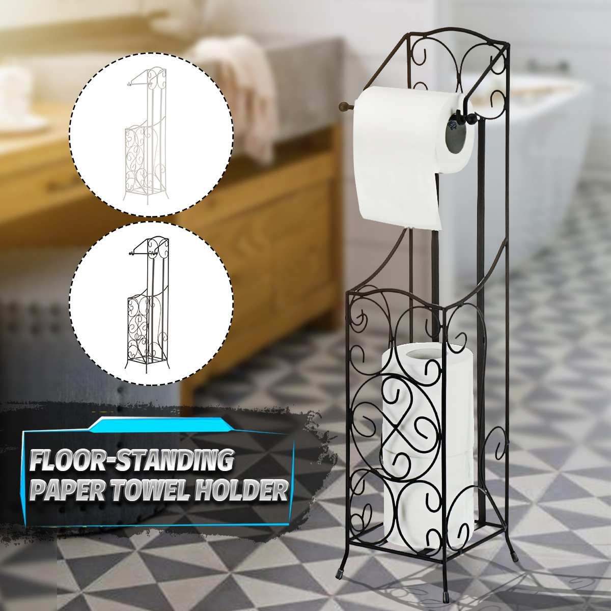 Bathroom Floor Standing Paper Holder