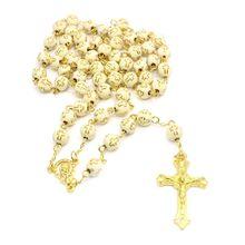 Handmade Round Cross Bead Crucifix Rosary Religious Jesus Necklace Christian Men
