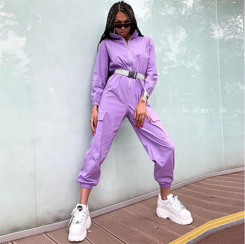Meihuida Autumn  Women Safari Long Sleeve Pants Sports Pants Jumpsuits Sets With Wear Belt Hip Hop Streetwear Clothing