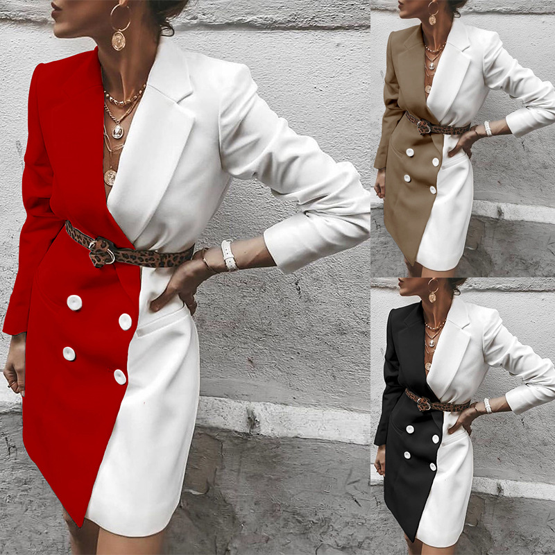 2020 Latest Spring Women's Fashion Wild Mid-length Contrast Color Blazer Fashion Long Jacket Women's Jacket