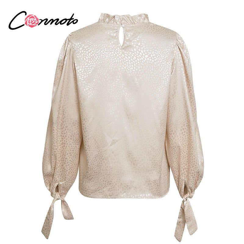 Conmoto 캐주얼 살구 긴 소매 여성 블라우스 셔츠 라운드 넥 블라우스 셔츠 가을 우아한 작업복 느슨한 여성 솔리드 탑