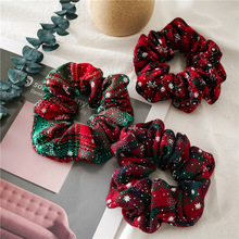 Christmas Scrunchies For Women Elastic Hair bands Fashion Ornaments Ring Velvet Ponytail Holder hair accessories