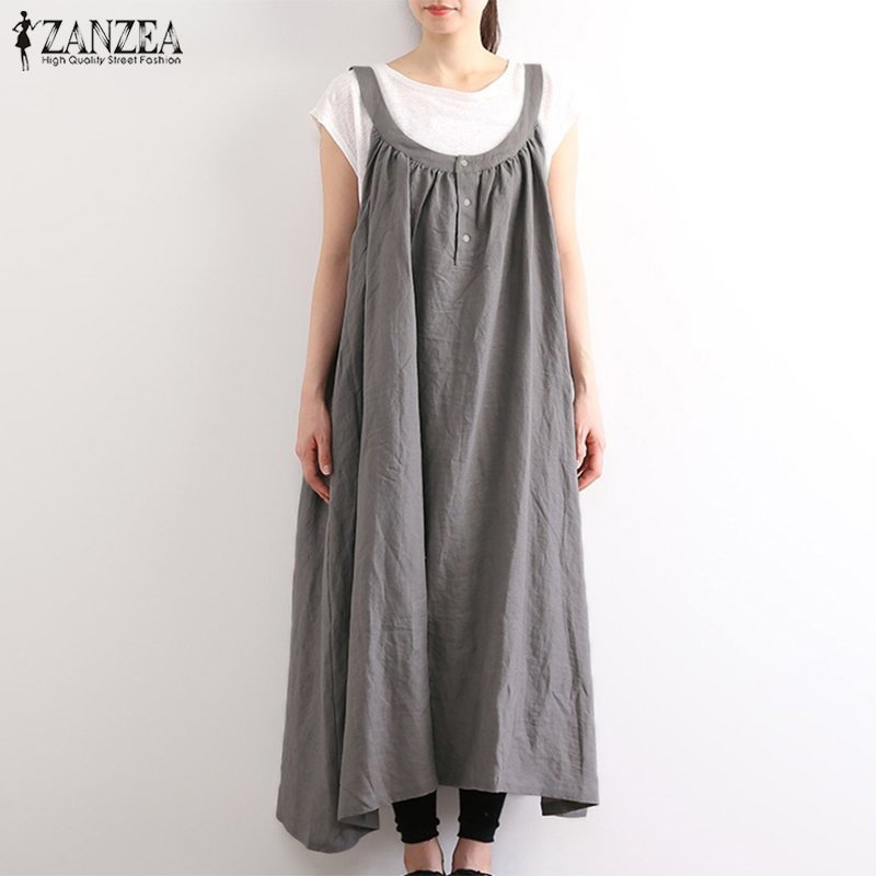 ZANZEA 2020 Vintage Suspender Overall Dress Women's Summer Autumn Sundress Casual Baggy Sarafans Vestidos Female Plus Size Robe