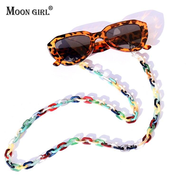 MOON GIRL Leopard Acrylic Sunglasses Chain Chic Womens Anti Slip Reading Glasses Eyewears Cord Holder Neck Strap Lanyard 72cm
