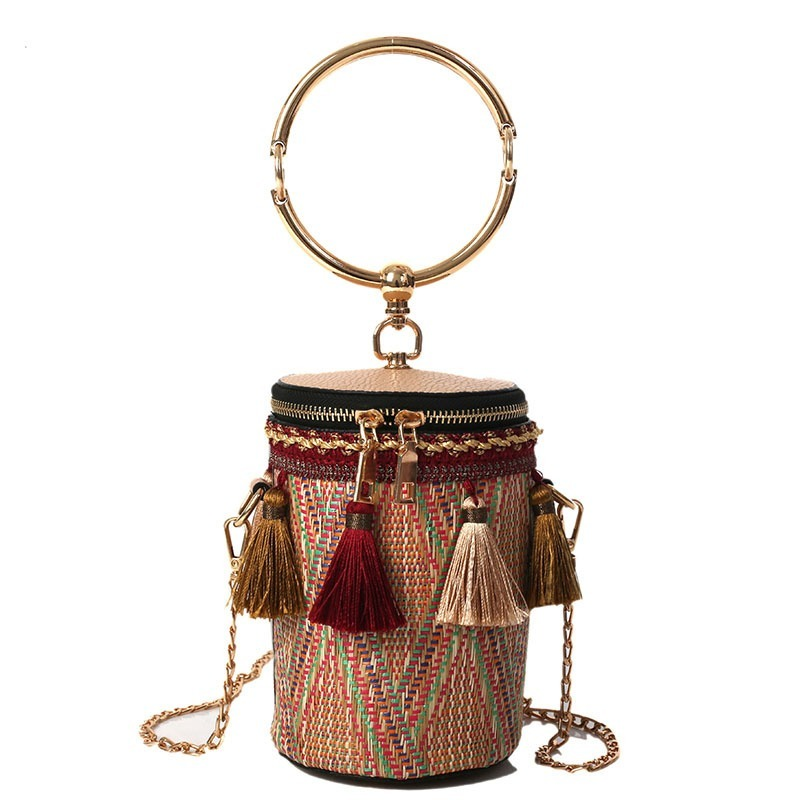INS Chain Round Handle Ring Shoulder Bag Straw Cylinder Mini Handbag Fairy Tassel Busket Woven Holiday Beach Crossbody Bag