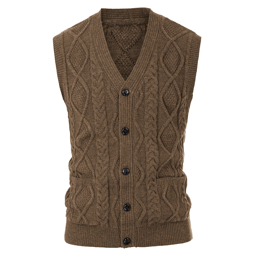 Fall Winter Men Knitted Vest Coat Cardigan Sleeveless Sweater Clothes Male Stylish V-Neck Button Placket Slim Solid Color Jumper
